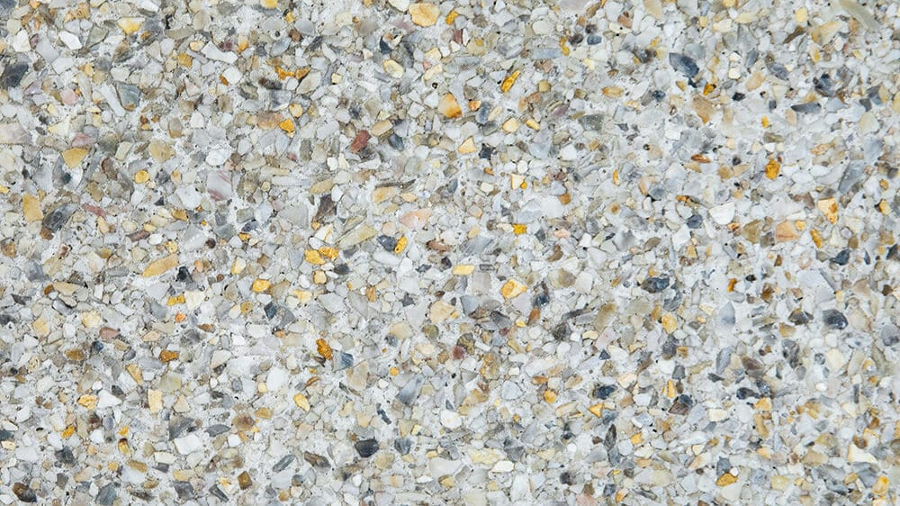 Swatch of Amber White Fine Blend exposed aggregate concrete